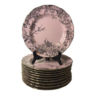 Pink and Gold Dinner Plates - Set of 10