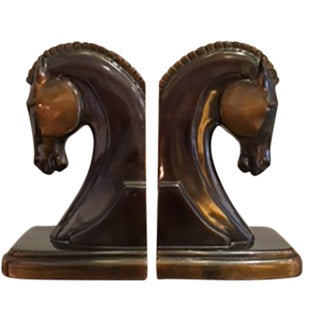 Art Deco Machine Age Bronze Plated and Copper Trojan Horse Bookends c. 1930s