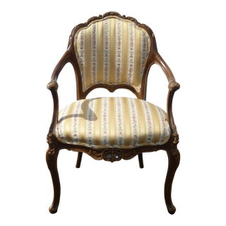 French Provincial Gold Striped Chair With Highly Carved Ornate Frame