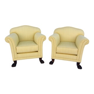 Antique Lion Paw Club Chairs- Pair
