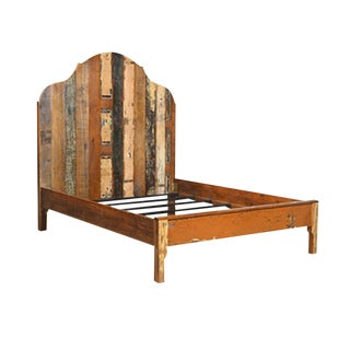 Distressed Painted Cal King Wooden Bed Frame