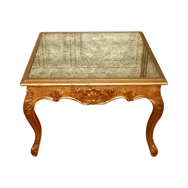 French Gilt Coffee Table: 19th C. French Gilt Mirrored Coffee Side Table