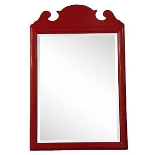 Vintage Red Lacquer Mirror