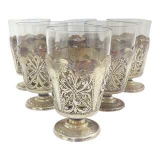 Vintage Indian Open Fretwork Silver Glasses - Set of 6