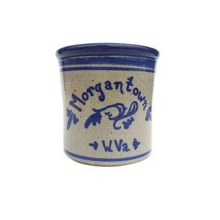 Shaffer Pottery Salt Glaze Stoneware Crock Blue/Gray - Signed
