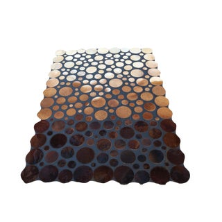 "Handmade Leather & Cowhide Rug - 5'5"" X 7'7"""
