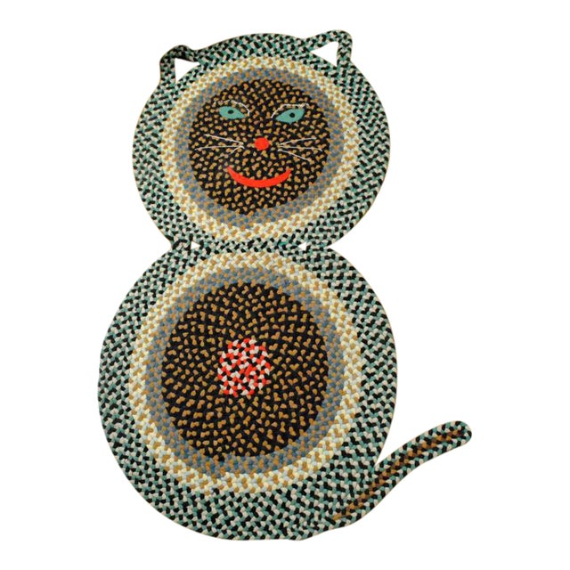 American Folk Art Braided Rug in the Form of a Cat - Image 1 of 3