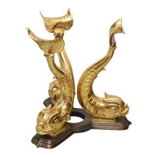 Italian Brass Koi Fish Sculptural Table Bases, 1960s, Italy