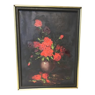 Vintage Red Roses Still Life Oil Painting