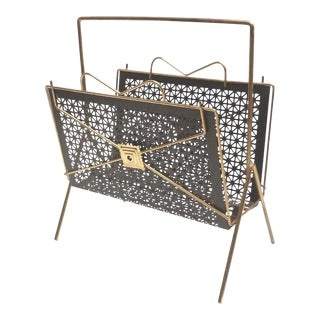 Mid-Century Perforated Metal Magazine Rack