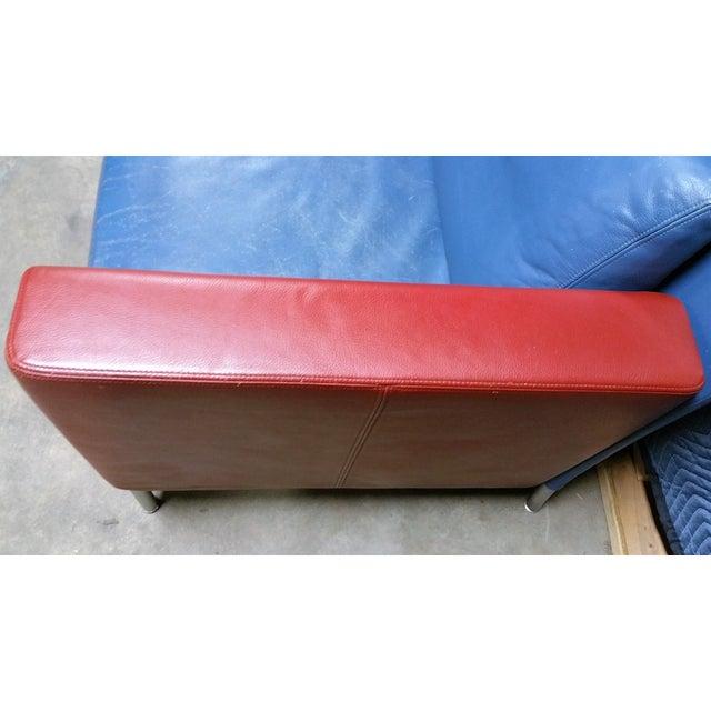 Image of Vintage 1980s Italian Blue Leather Sofa