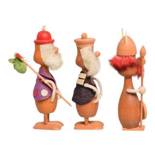 Mid-Century Danish Modern Wood Toys, Set of Three Vikings