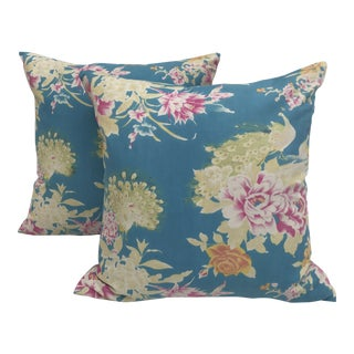 Vintage Chinese Aqua Peacock Floral Pillows - Pair
