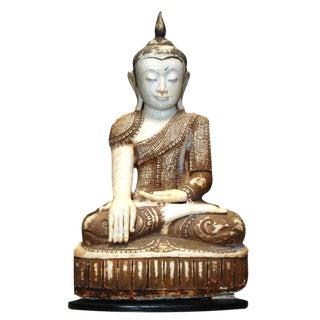 19-20th c. Large Myanmar Alabaster Sitting Buddha