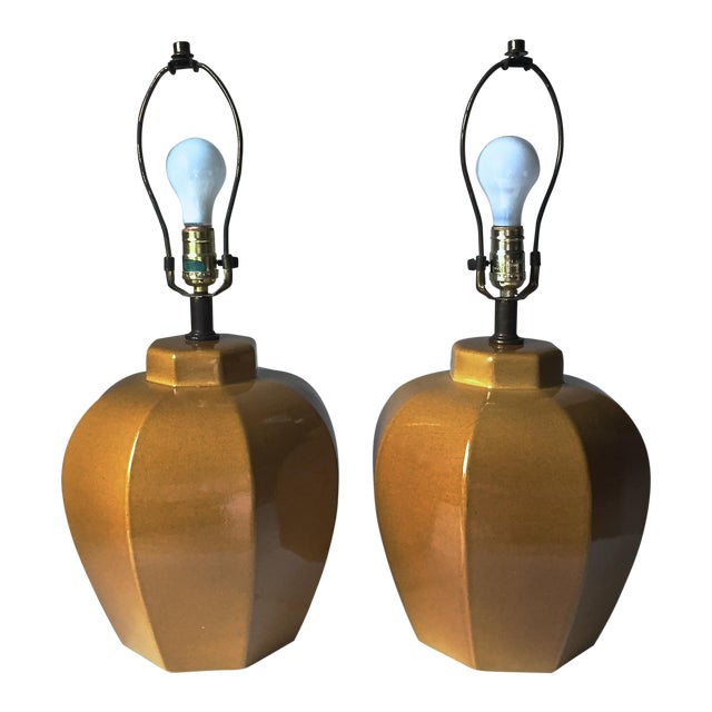 2 Mid Century Chinoiserie Ceramic Lamps - Image 1 of 5