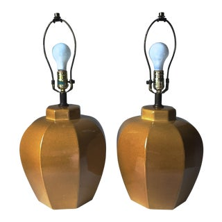 2 Mid-Century Chinoiserie Ceramic Lamps & Shades