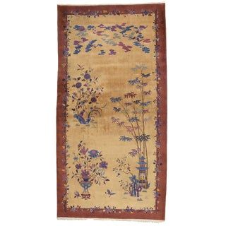 Antique Palace-Size Gold Ground Art Deco Chinese Rug - 9' x 17'