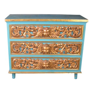 Spanish Colonial Turquoise Lacquer Gilded Cherub Chest