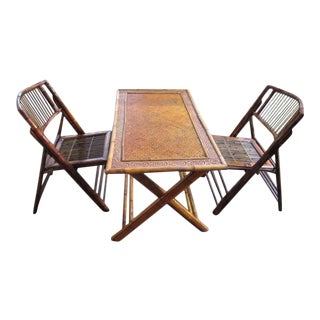 Bamboo Wood Rattan Folding Dining Set/Card Table/Game Table/With Two Chairs