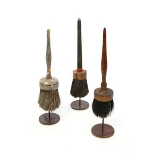 Vintage Paintbrushes on Stands - Set of 3