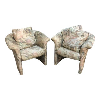 Custom Janice Wagner Pastel Chairs - A Pair
