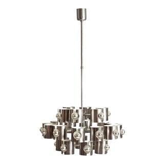 Twenty-Four Lights Chrome Chandelier by Lamperti