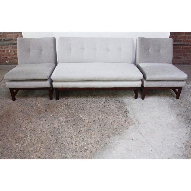 Danish Modern Settee in Chenille and Rosewood - Image 4 of 10