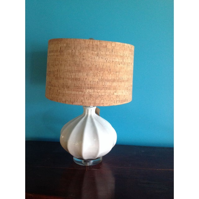 White pottery lamp with cork shade chairish for Wine cork lampshade