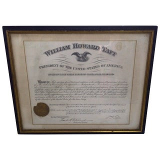 Postmaster Certificate Signed by William Taft