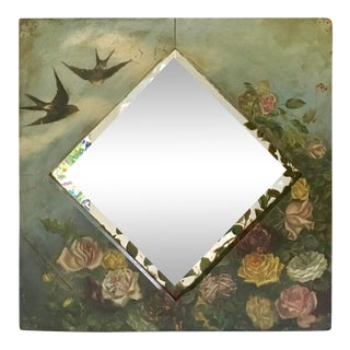 Victorian Hand Painted Floral Mirror
