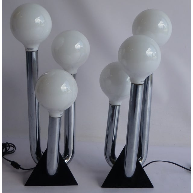 Image of Mid-Century Modern Chrome 70's Lamps- A Pair