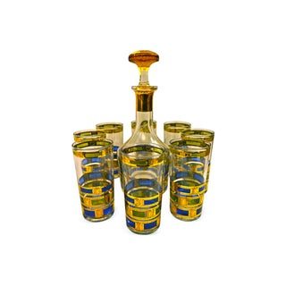 1960s Culver Decanter & Glasses - Set of 9