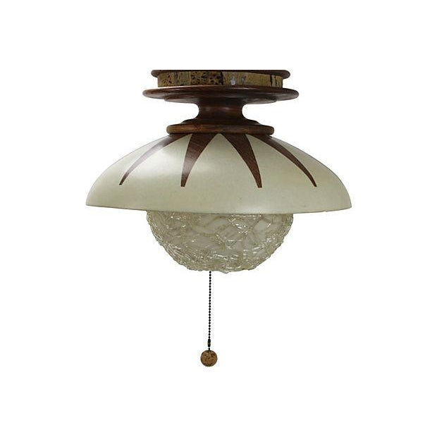 mid century modern wood pendant light chairish. Black Bedroom Furniture Sets. Home Design Ideas