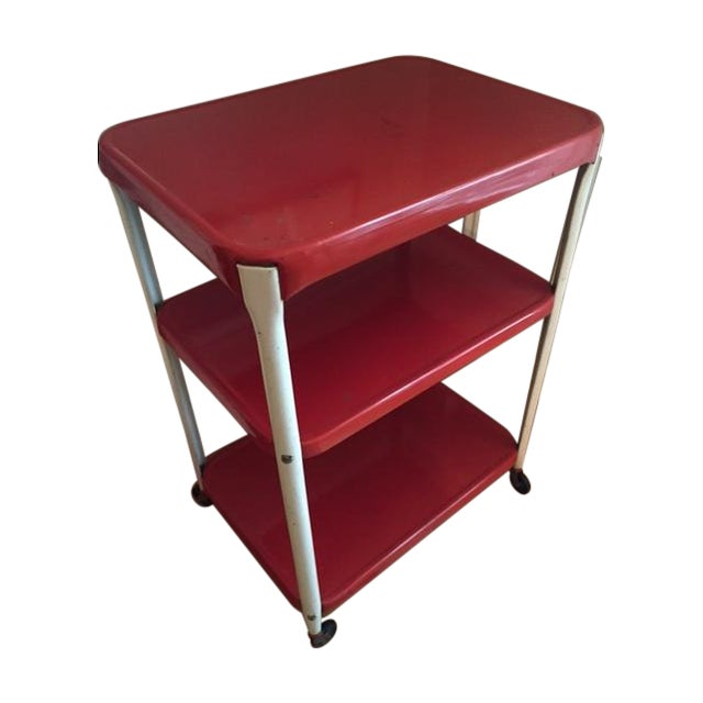 Vintage Metal Cart Serving Cart Kitchen Cart Red: Vintage Red Metal Kitchen Cart