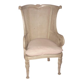 Anglo Indian Style Gray Painted Cane Armchair
