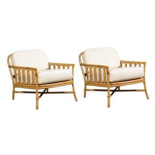 Decorative Pair of Vintage Rattan Lounge Chairs by Ficks Reed