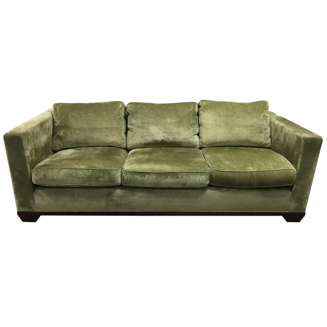 Green chenille baker upholstered sofa chairish for Green chenille sectional sofa