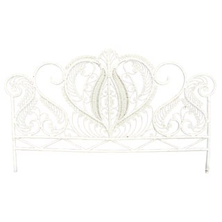 Vintage White Wicker Peacock King Headboard Rattan