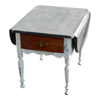 Shabby Chic Drop-Leaf End Table