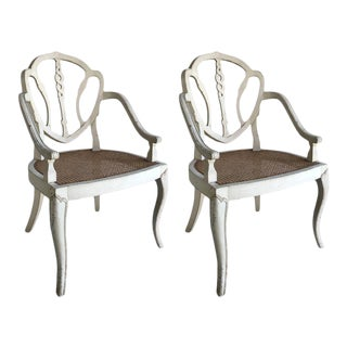 White Washed Cane Seat Armchairs - A Pair