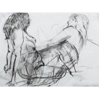 Two Models Charcoal Drawing by Martha Holden