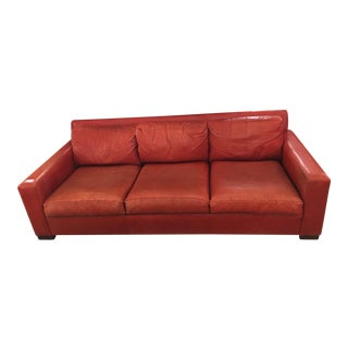 Distressed Red Leather Sofa