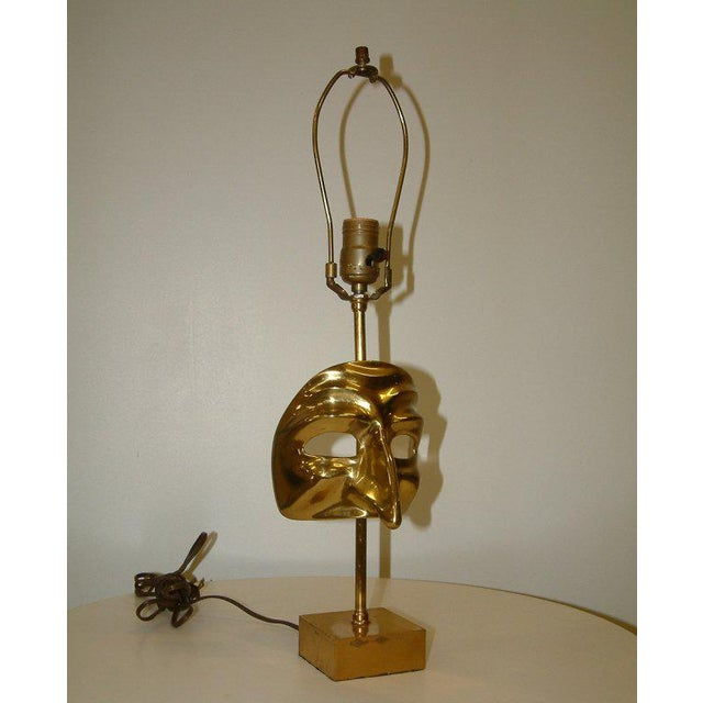 Commedia Dell'Arte Brass Mask Table Lamp - Image 6 of 9