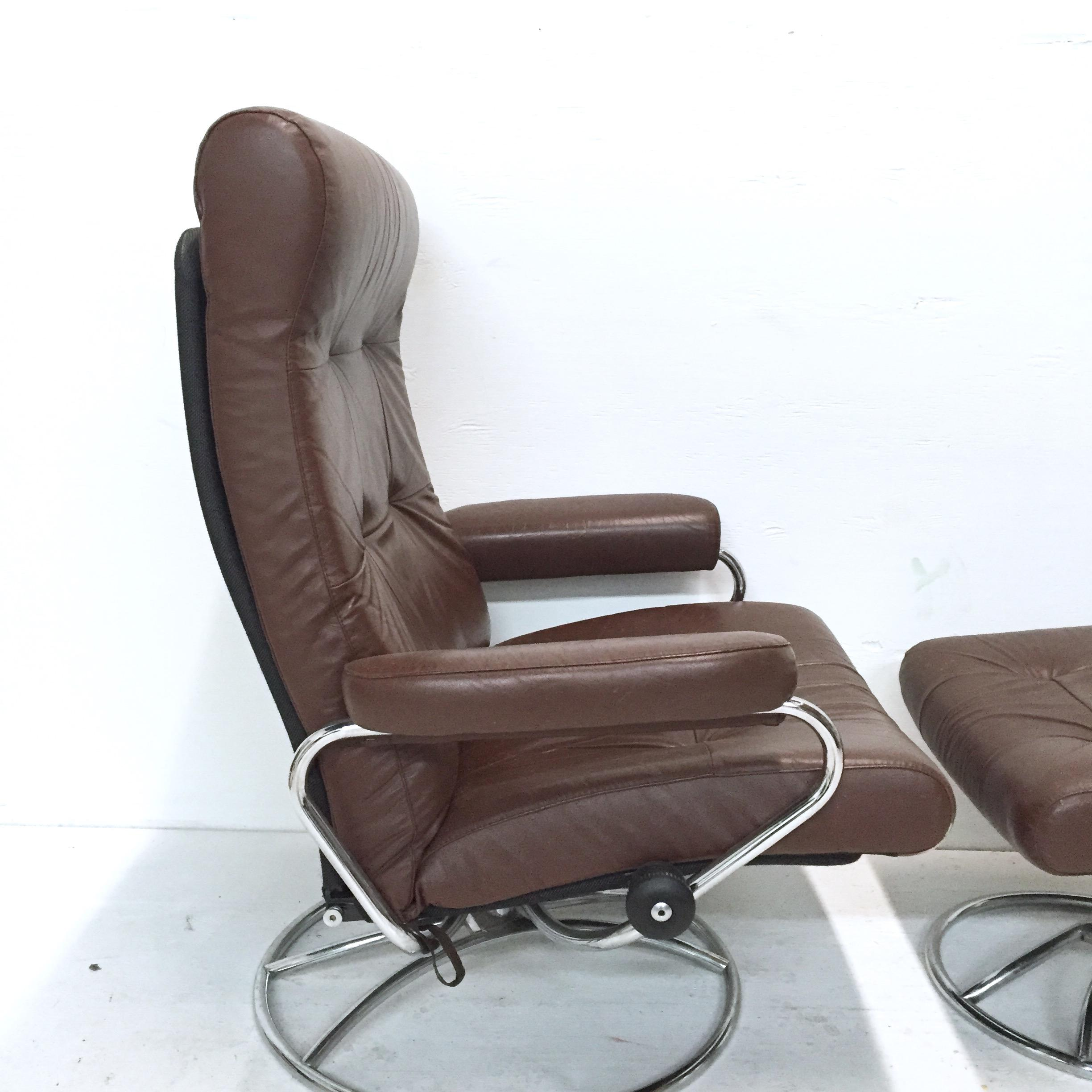 image of vintage ekornes stressless chair with ottoman chrome swivel base all original - Stressless Chair
