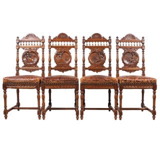 19th C. French Breton Style Walnut Chairs- Set of 4