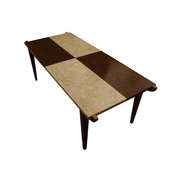Lane Burl Wood Coffee Table: Mid-Century Marble & Burl Wood Coffee Table