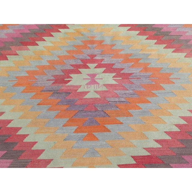 "Vintage Turkish Kilim Rug - 5'9"" X 9'3"" - Image 7 of 11"