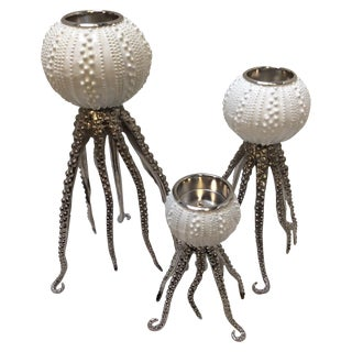 Sea Urchin Candle Holders - Set of 3
