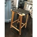Image of Woven Black Leather Strap Backless Bar/Counter Stool