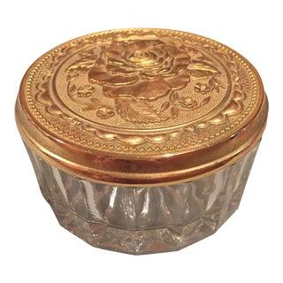 Crystal Trinket Box, Bronze Lid (Etched Rose)